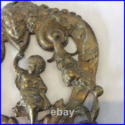 Antique French Rococo Style Cherub Wall Sconce Candle Holder Gold Tone Ornate