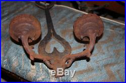 Antique Gothic Medieval Wrought Iron Double Arm Candelabra Wall Sconce Fixture