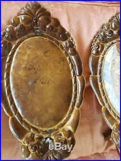 Antique Hammered Gold Dore Finish Gilt Candle Sconce Pair Holder Wall Hanging