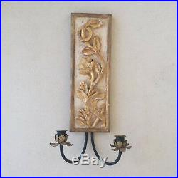 Antique Italian Wall Light Carved Gilt Wood and Gesso metal Candle holders
