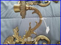 Antique Lot Of 2 Brass Double Arm Candle Sconce Holders Wall Mount Vintage