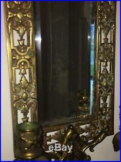 Antique Original Bradley & Hubbard bronze Metal Wall Sconce Mirror Candle Holder