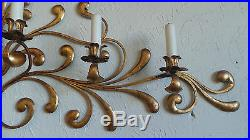 Antique Original Gilded Gold & Metal Wall Sconce Candle Holders