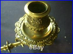 Antique Pair 0f Brass Rotating Piano Wall Mounted Candle Holder Sconces