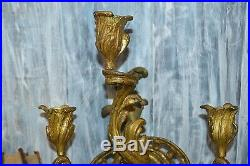 Antique Pair Large French Ormolu Rococo 3 Arm Candle Wall Sconces Holders