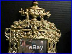 Antique Pair Of Gilt Finish Metal Double Candle Holder Wall Sconce Fish Mirrors