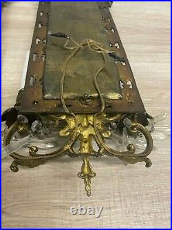 Antique Pair Of Gilt Metal Double Candle Holder Wall Sconces Fish Mirrors b71