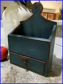 Antique Primitive BLUE Wall Box Candle Holder Lollipop Top Pantry