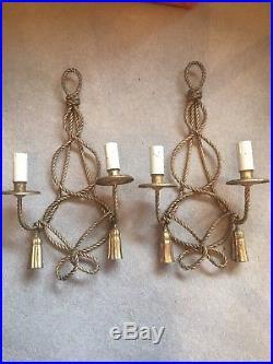 Antique Regency Hollywood Boudoir Wall Light Candle Holders Sticks Gold 51cm