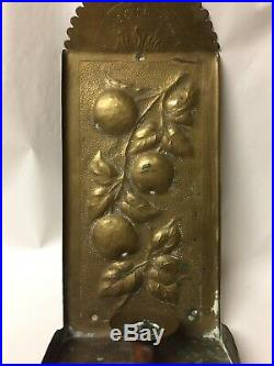 Antique Repousse Hammered Brass Wall Sconce Candle Holder Arts & Crafts Nouveau