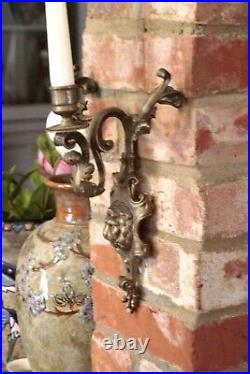 Antique Rococo Style Bronze Ornate Wall Sconce Candle Holder with Lion Face