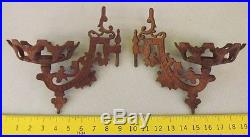 Antique Rusted Western Outdoor Fence Post Wall Mount Cast Iron Candle Holders