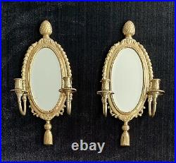 Antique Solid Brass Mirrors Double Candle Wall Sconces Pineapple motif