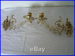 Antique Solid Brass Scroll Candlestick Holder Wall Sconce Piano Candle Reclaim