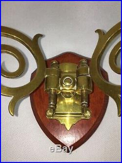 Antique Victorian Brass Branch Wall Sconces / Candle Holders (Pair)