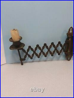 Antique Victorian CANDLE STICK HOLDER ACCORDIAN Brass Swivel Wall Mount Sconce
