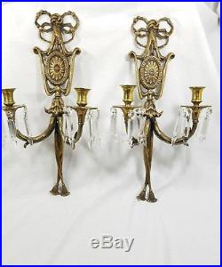 Antique Vintage Brass Candelbra Wall Candlestick Holder Sconces Crystals RARE
