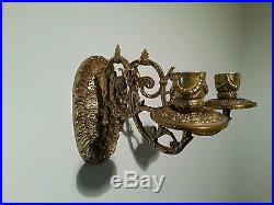 Antique Vintage Brass Piano Wall Sconces Candle Holder Sticks pair