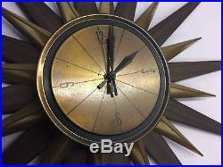 Antique Vintage MID Century Starburst Wall Clock Candle Holder Set