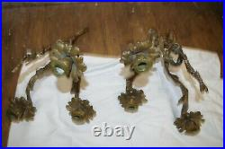 Antique Vintage Pair French Rococo Ornate Brass Wall Sconces Candle Holder Heavy