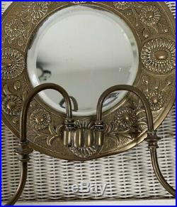 Antique Vintage Victorian Art Nouveau Brass Bevelled Wall Mirror Candle Holders