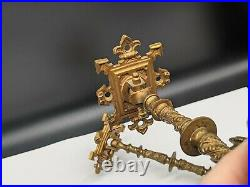 Antique Vintage Victorian Pair Of Brass Ornate Wall Swing Out Piano Candlesticks
