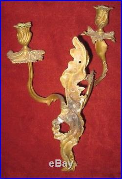 Antique Wall Sconce Brass Candelabra Candle Stick Holder