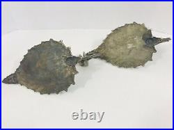 Antique Wall Sconce Candle Holders Pair Metal Leave Shape French Gothic Style