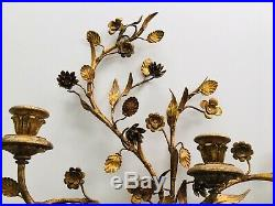 Antique Wrought Iron Gilt Gold Candelabra Candle Holder Wall Sconce Rococo Italy