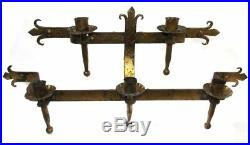Antique Wrought Iron Mortuary Church Wall Candelabra Candle Holder Sconce
