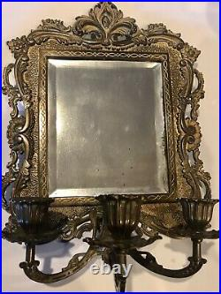 Antique brass/gold plated candle holder mirror, victorian wall art