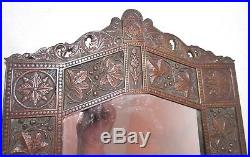 Antique ornate Aesthetic gilt bronze wall mirror candle holder sconce eastlake