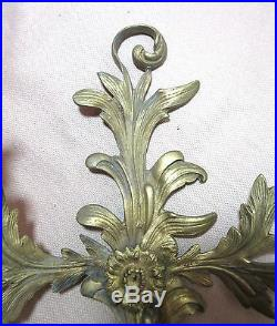 Antique ornate brass rococo style wall candle holder wall sconce fixture