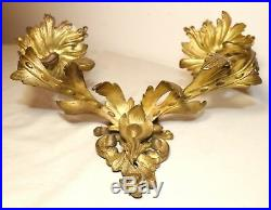 Antique ornate dore bronze rococo wall mount electric candle holder fixture