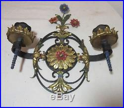 Antique ornate hand wrought iron cold painted brass candle holder wall sconce