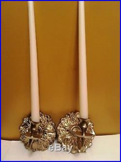 Architectural Salvage Pair of Antique Cast iron Gold Wall Candle Holders Sconce