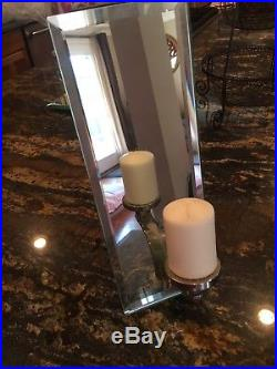 Art Deco Candlestick (Pair) Wall Candle Holder Mirrored Sconce Rare And Unique