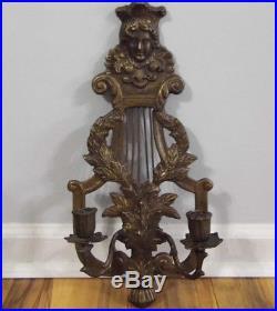Art Nouveau Brass Bronze Wall Candle Holder Sconce Face, Harp