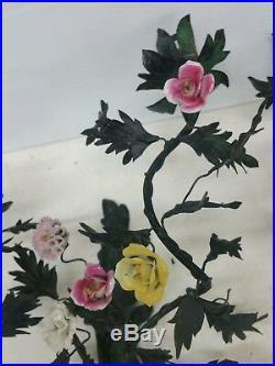 Art Nouveau Bronze Floral Porcelain Wall Sconce Candle Holders