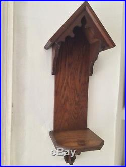Arts & Crafts Oak Shelf Shrine Church Chapel Candle Holder Wall Display Wood