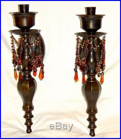 BOMBAY CO. Wall SCONCES Candle Holders Bronze Finish, Draped Crystals Beads VTG