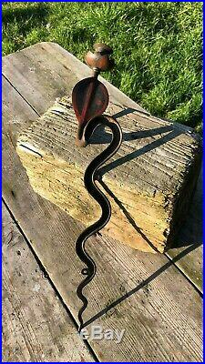 Beautiful Antique Vintage Gothic Metal Cobra Snake Wall Candle Holder