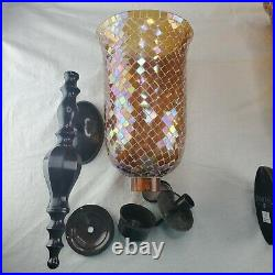 Bombay Company Dark Metal Amber Mosaic Glass Wall Sconce Set 23 Candle Holder