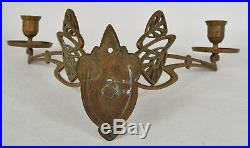 Brass Candle Wall Sconce 2 Swing Arm Art Nouveau Fixture Holder