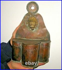 British 18th Century Copper Primitive Antique Wall Hanging Candle Holder 1700