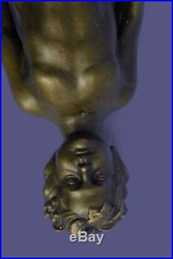 Bronze Sculpture Statue Original Aldo Vitaleh Young Nude Boy Wall Candle Holder