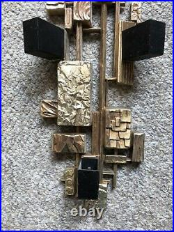 Brutalist Abstract MCM Syroco Wall Sconces Candle Holders Art Rare USA 4073 Vtg