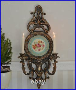 Candelabrum Baroque Wall Light Porcelain Medallion Antique Candle Holder Lights