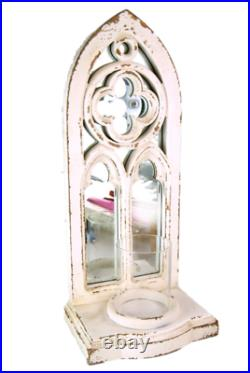 Candle Holder Mirror Arched Wall Sconce Distressed White wood church gothic