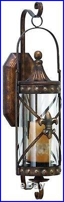Candle Sconce Wall Decor Candle Holder Bronze Iron Glass Rustic Vintage Lantern